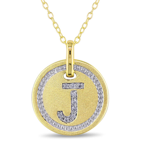 "Diamond ""J"" Initial Pendant with Chain in Yellow Plated Sterling Silver"