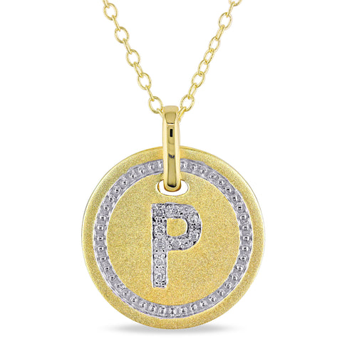 "Diamond Initial ""P"" Pendant with Chain in Satin Yellow Plated Sterling Silver"