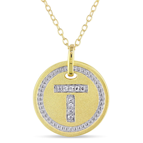 "Diamond ""T"" Initial Pendant with Chain in Yellow Plated Sterling Silver"