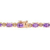 7-1/5 CT TGW Oval-Cut Amethyst and Diamond Accent Tennis Bracelet in Rose Plated Sterling Silver