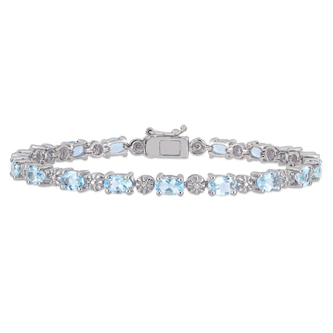 7-1/5 CT TGW Aquamarine and Diamond Accent Tennis Bracelet in Sterling Silver