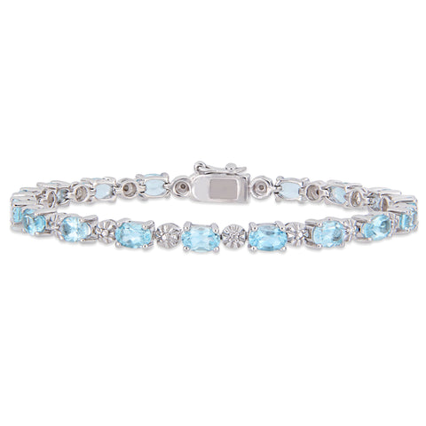 9 CT TGW Oval-Cut Sky-Blue Topaz and Diamond Accent Tennis Bracelet in Sterling Silver
