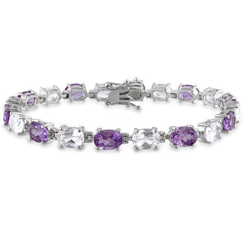 19 3/4 CT TGW Amethyst Created White Sapphire Bracelet Silver Length (inches): 7.25
