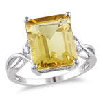 6 5/8 CT TGW Emerald Cut Citrine and White Topaz Ring in Sterling Silver