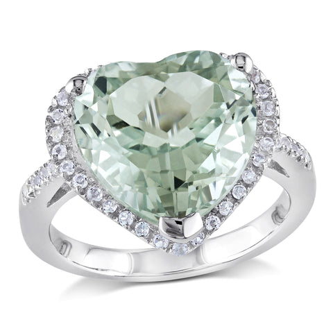 4 4/5 CT TGW Green Amethyst and White Topaz Heart Halo Ring in Sterling Silver