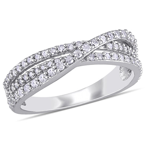 1/2 CT TW Diamond Crossover Ring in Sterling Silver