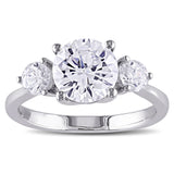4 1/3 CT TGW White Cubic Zirconia Engagement Ring Silver