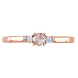 0.04 CT Diamond TW And 1/6 CT TGW Morganite Fashion Ring Pink Silver GH I2;I3