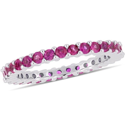 Pink Sapphire Eternity Band in 14k White Gold