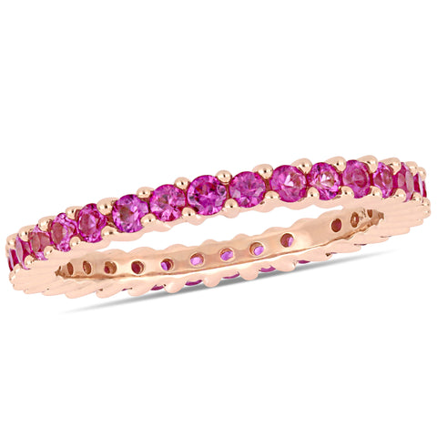 Pink Sapphire Eternity Band in 14k Rose Silver