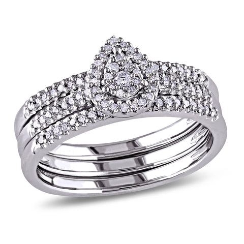 1/4 CT TW Diamond Cluster Pear Shape Halo Bridal Set in Sterling Silver