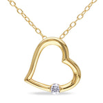 Diamond Heart Pendant with Chain in Yellow Plated Sterling Silver
