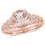 Morganite and Diamond Accent Vintage-Inspired Engagement Ring in 14k Rose Gold