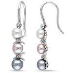 0.03 CT Diamond TW Dyed Grey Pink White Freshwater Cultured Pearl Charm Earrings Silver GH I2;I3