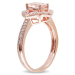 Cushion-Cut Morganite Vintage-Inspired Floral Halo Ring in 10k Rose Gold
