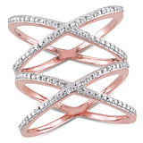 1/10 CT TW Diamond Double Crisscross Ring  in Rose Plated Sterling Silver