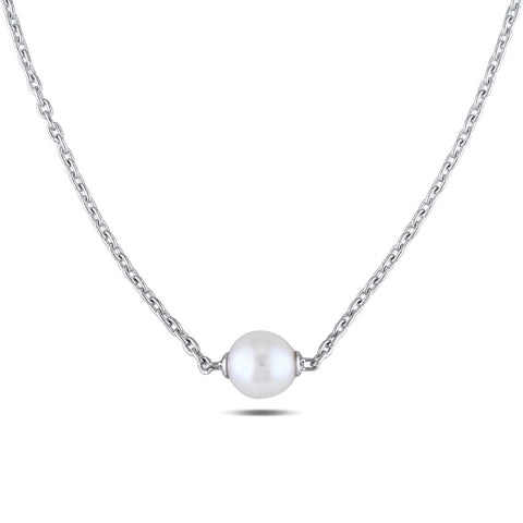 9 - 9.5 MM White Freshwater Cultured Pearl Necklace With Chain Silver Length (inches): 18