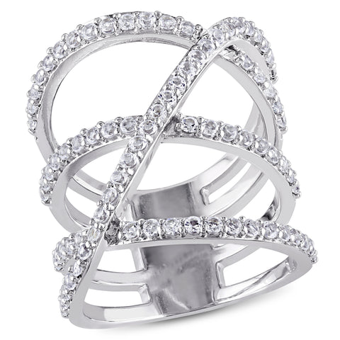 White Topaz Crossover Split Shank Ring in Sterling Silver