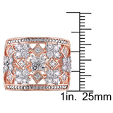 Created White Sapphire Floral Filigree Ring in Rose Plated Sterling Silver
