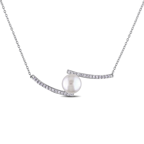 3/5 CT TGW Created White Sapphire And 10 - 10.5 MM White Freshwater Cultured Pearl Necklace With Chain Silver Length (inches): 17