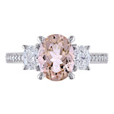 Morganite and 5/8 CT TW Oval and Round-Shaped Diamond Halo Engagement Ring in 14k White Gold