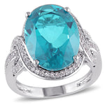 8 3/4 CT TGW Oval Cut Paraiba Quartz and White Topaz Halo Twist Cocktail Ring in Sterling Silver