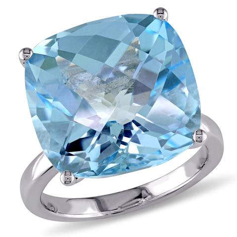 18 2/5 CT TGW Blue Topaz - Sky Fashion Ring 14k White Gold
