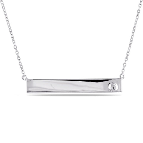 White Sapphire Linear Necklace in Sterling Silver
