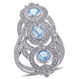1/10 CT TW Diamond and Sky-Blue Topaz Vintage Ring in Sterling Silver