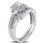 2/5 CT TW Parallel Baguette and Round Diamond Square Vintage Bridal Set in 10k White Gold