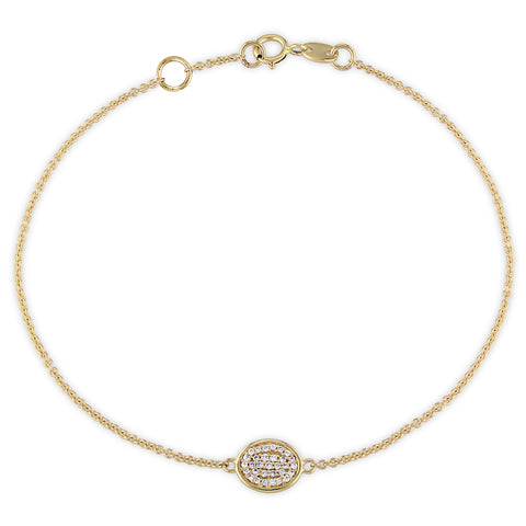 1/10 CT TW Diamond Circle Cluster Bracelet in 14k Yellow Gold