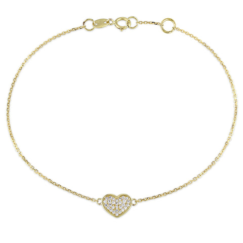 1/10 CT Diamond TW Bracelet With Chain 14k Yellow Gold GH SI