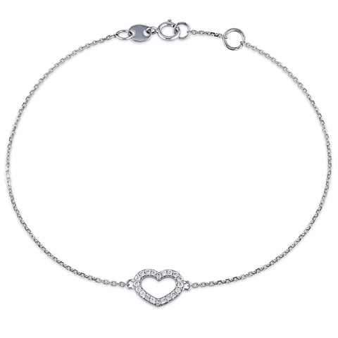 1/10 CT TW Diamond Heart Charm Bracelet in 14k White Gold