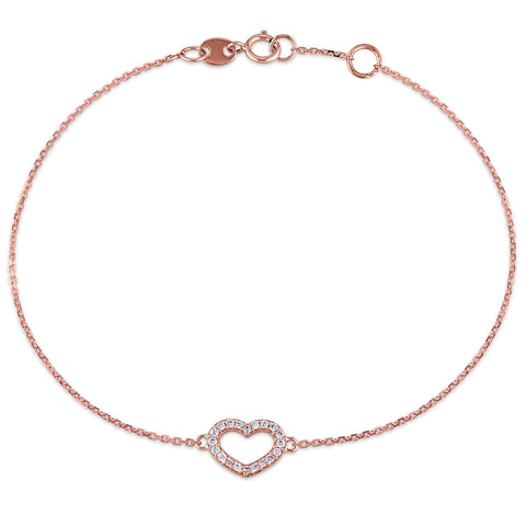 1/10 CT TW Diamond Heart Charm Bracelet in 14k Rose Gold