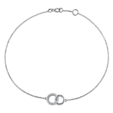 1/10 CT TW Diamond Circles Charm Bracelet in 14k White Gold (SI)