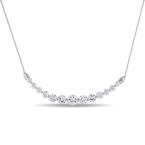 5.07 CT TGW Created White Sapphire Necklace in 10k White Gold