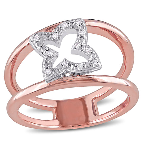 Diamond Butterfly Openwork Ring in Pink Plated Sterling Silver