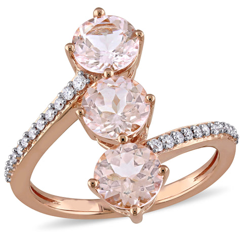 Morganite and 1/7 CT TW Diamond 3-Stone Bypass Ring in 14k Rose Gold