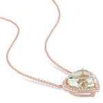 4 3/5 CT TGW Heart Shaped Green Amethyst and 1/5 CT TW Diamond Halo Pendant with Chain in 14k Rose Gold
