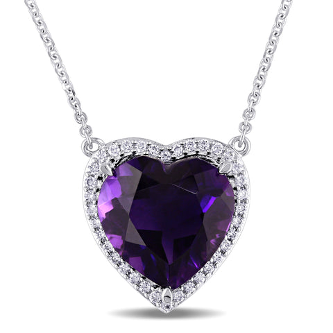 1/5 CT TW Diamond and 5 1/3 CT TGW Amethyst Heart Halo Pendant in 14k White Gold
