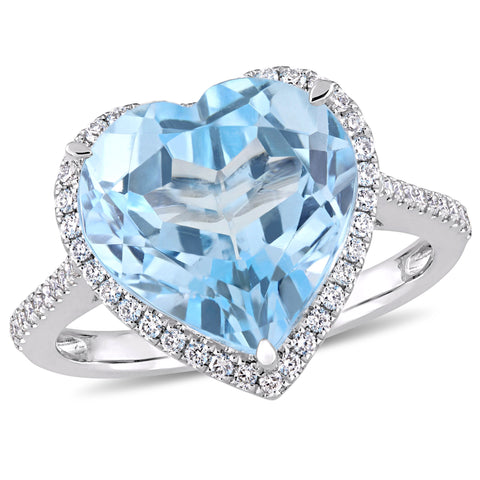 6 4/5 CT TGW Heart Shape Blue Topaz and 1/3 CT TW Diamond Halo Ring in 14k White Gold