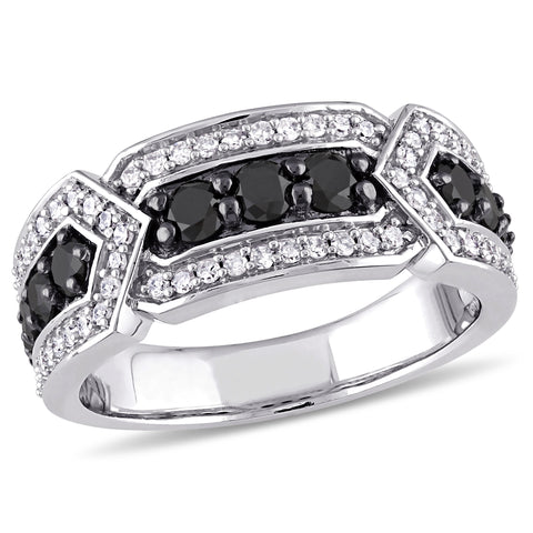 1 CT TW Black and White Diamond Anniversary Band in 10k White Gold with Black Rhodium