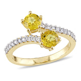 1/5 CT TW Diamond and Yellow Sapphire 2-Stone Bypass Ring in 10k Yellow Gold