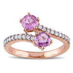 1/5 CT TW Diamond and Pink Sapphire 2-Stone Open Wrap Ring in 10k Rose Gold