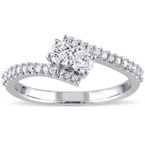1/2 CT TW Diamond 2-Stone Bypass Ring in 14k White Gold