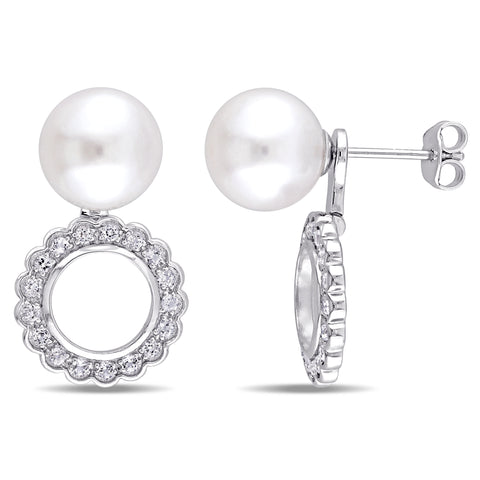 9.5 - 10 MM Cultured Freshwater Pearl and White Topaz Open Disc Two-in-One Earrings in Sterling Silver