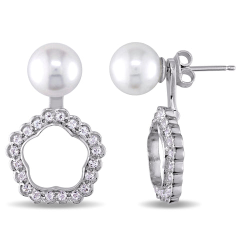 1 1/5 CT TGW White Topaz And 8 - 8.5 MM White Freshwater Cultured Pearl Ear Pin Earrings Silver