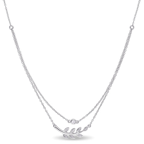 Diamond and White Topaz Leaf Layered Necklace in Sterling Silver