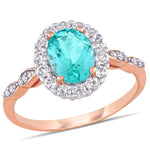 1 7/8 CT TGW Apatite White Topaz and Diamond Accent Halo Ring in 14k Rose Gold