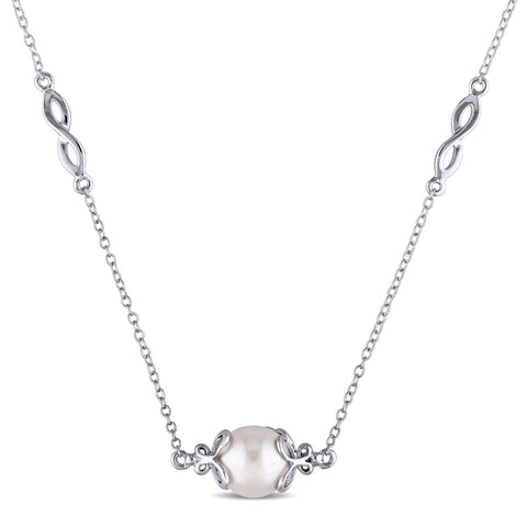 9 - 9.5 MM White Freshwater Cultured Pearl Necklace With Chain Silver Length (inches): 36